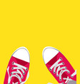 pair shoes on color background vector image vector image