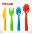 plastic cutlery kids food 3d realistic icon set vector image