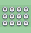 player buttons set in paper cut style symbols for vector image vector image