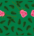 realistic detailed 3d flower rose seamless pattern vector image vector image