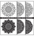 set of 6 hand-drawn mandala on white vector image vector image