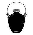 silhouette middle mason jar with wire handle vector image vector image