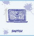 sketch line shopping basket on screen laptop icon vector image vector image