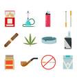 smoking icons set cigarette pipe vape hookah vector image
