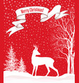 snow winter landscape deer merry christmas card vector image vector image