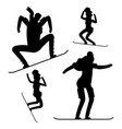 snowboarding people black silhouettes isolated on vector image vector image