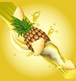 splash of pineapple juice in motion vector image vector image