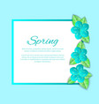 spring season poster with text sample and frame vector image vector image