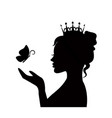 tender princess with butterfly vector image vector image