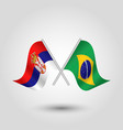 two crossed serbian and brazilian flags vector image