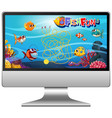 underwater fish game on computer screen vector image vector image