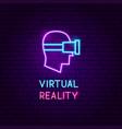 virtual reality neon label vector image