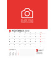 wall calendar planner for 2018 year november vector image vector image
