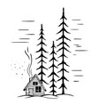 winter landscape with high fir trees vector image