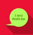 world health day concept thinking circle with 7 vector image vector image