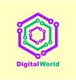 world tech logo design template digital vector image vector image