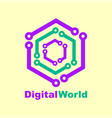 world tech logo design template digital world vector image