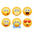 smiley face icons funny faces 3d set vector image