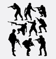 Army soldier pose with gun weapon silhouette vector image vector image