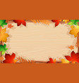 background design template with orange leaves vector image
