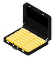 black briefcase diplomat full golden bars vector image vector image
