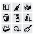 black cleaning icons set on gray vector image vector image