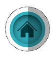 blue round symbol house with roof and door icon vector image vector image