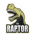 cartoon emblem of dinosaur on a white background vector image vector image