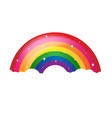 cartoon rainbow with stars and white background vector image vector image