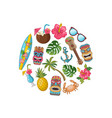 cartoon summer travel elements in circle vector image vector image