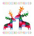 CHRISTMAS card with colorful deers vector image