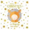Christmas greeting card reindeer vector image