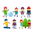 christmas kids playing winter games skiing vector image vector image