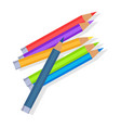 colorful pencils mixed in pile vector image