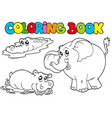 coloring book with tropic animals 1 vector image