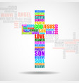cross of religious words christian symbol vector image