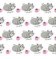 cute seamless pattern cat sleeping and coffee cup vector image vector image