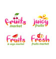 fruits market lettering set organic foods vector image