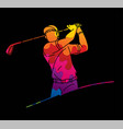 golf player action cartoon sport graphic vector image