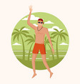 happy man at beach vector image vector image
