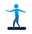 man with surfboard silhouette isolated icon vector image
