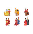 men and women dressed folk costumes various vector image vector image