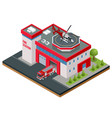 modern isometric fire station building vector image