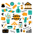 money set business symbols and financial vector image vector image