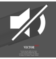 Mute sound Flat modern web button with long shadow vector image