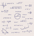 notebook sheet with science geometry formulas vector image