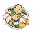 Oktoberfest girl with glass vector image