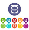 pizza badge or signboard icons set flat vector image vector image