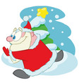 running santa claus cartoon character vector image