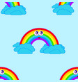 seamless patterns from a cartoon rainbow with vector image vector image